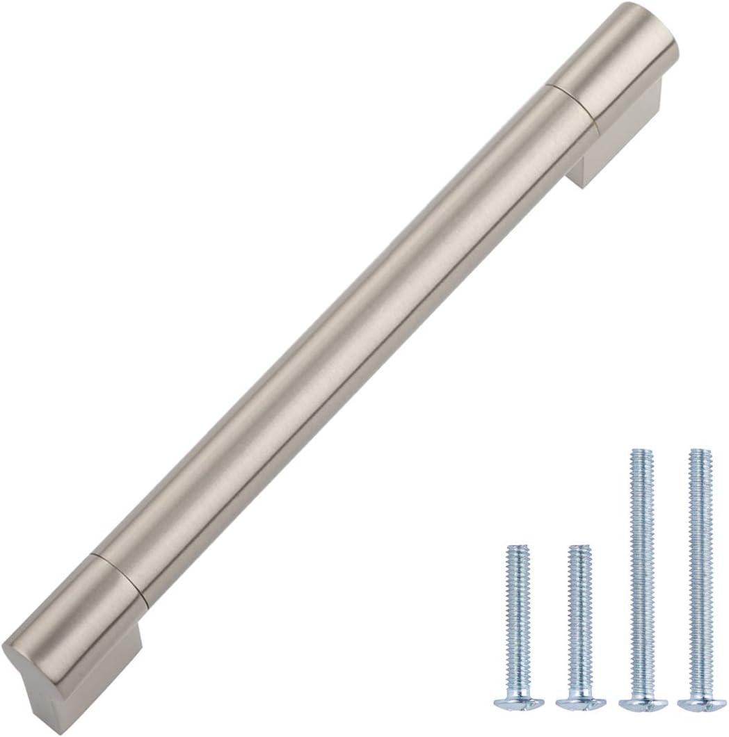 AmazonBasics Modern Boss Bar Cabinet Pull, 185mm Length (160mm Hole Center), Satin Nickel, 10-Pack