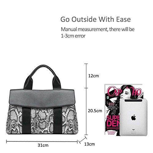 Handbag PU NICOLE Women's Bag Shoulder Snakeskin Black Leather Modern amp;DORIS Print Black Bag Crossbody wzXqyfzr