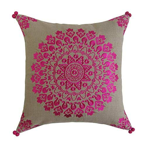 Amazon Com Tan And Pink 18 X 18 Square Pillow Embroidered Accent Decorative Pillow With Insert Handmade