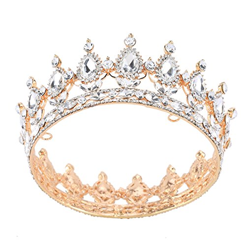 Gold Crystal Crown (Stuffwholesale Gold Crystal Crown Tiaras Prom Party Wedding Bridesmaid Hair Jewelry (Crystal))