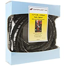 "Pre-Cut Spiral Wrap Hose Protector, 1.25"" OD, 20' Length, Black"