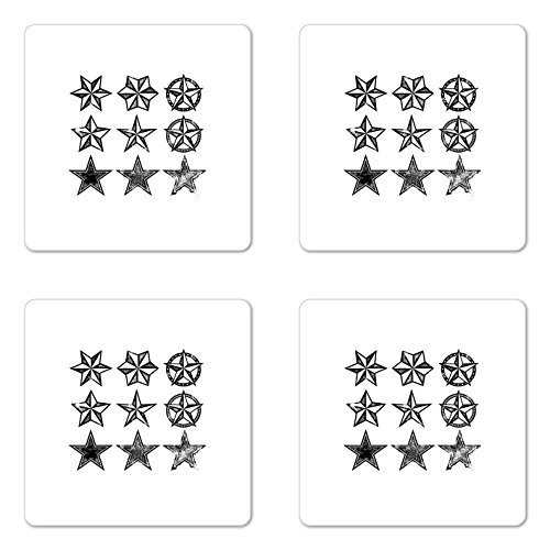 Cheap  Lunarable Texas Coaster Set of Four, Grunge Looking Distressed Stars Collection Monochrome..
