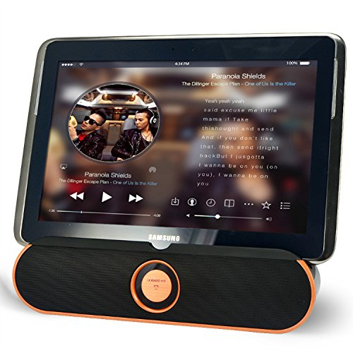 First2savvv LY-i806-07D6 orange Portable rechargable wireless bluetooth speaker handsfree desktop stand dock dockting station with NFC, AUX Jack, perfect for alcatel ONE TOUCH TAB 7HD ONE TOUCH TAB 7 ipad 2 3 ipad air 2 ipad mini 2 3 LENOVO S5000 S6000 Miix 2 ThinkPad 10 ThinkPad Tablet 8 TAB S8 A10 A7 A8 YOGA Tablet 2 TOSHIBA ENCORE MINI WT7 ENCORE 2 WT8 ENCORE 2 WT10 ENCORE with green LED USB light