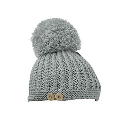 Gloria JR Fashion WomenS Winter Warming Ski Chunky Ribbed Button Bobble Hat Beanie (Gray)