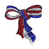 4th of July American Flag Design Bow Ribbon Brooch Pin Independence Day Gift (Silver-tone)