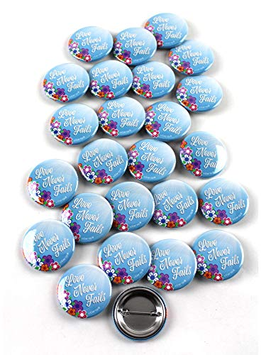 (Jehovah's Witnesses Convention Flower Love Never Fails JW.org Pinback Buttons - 1.5 Inch Round - 25 Pack)