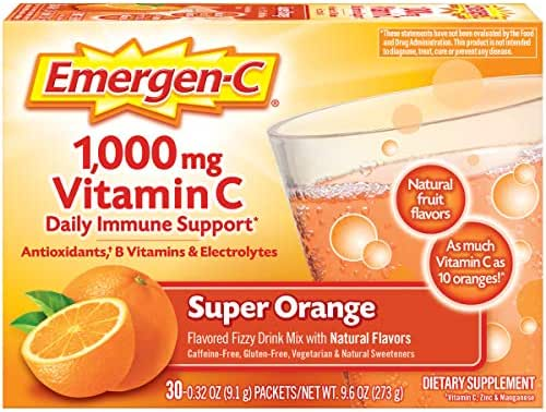 Emergen-C Vitamin C 1000mg Powder (30 Count, Super Orange Flavor, 1 Month Supply), With Antioxidants, B Vitamins And Electrolytes, Dietary Supplement Fizzy Drink Mix, Caffeine Free