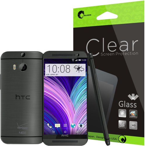 i-Blason All New HTC One M8 Screen Protector - [ Ultra-Thin 0.2 mm Tempered Glass ] Premium Minimal Bubble 8 H Scratch Free Screen Protector (Glass-uT) for HTC One 2014