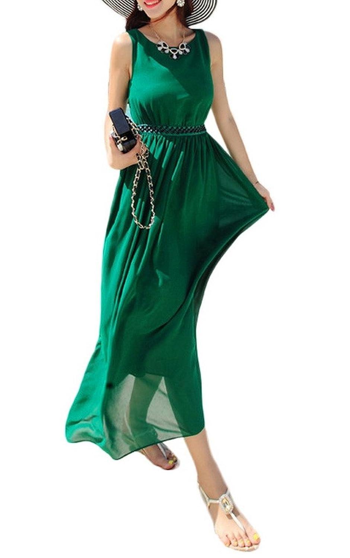 Bigood Rundhals Damen Ohne Arm Strandkleid Langes Kleid Grün