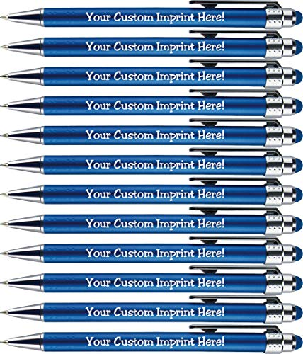 Personalized Pens with Stylus Tip -Bright Lights- Click action - Custom - Black writing - Printed Name pens - Imprinted with Your Logo or Message - FREE PERSONALIZATION - 12 Pens/Box (Blue)]()