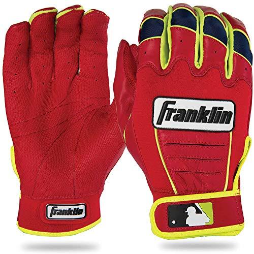 Franklin Sports MLB David Ortiz CFX Pro Signature Series Batting Glove, Red/Optic Yellow, Small, ()