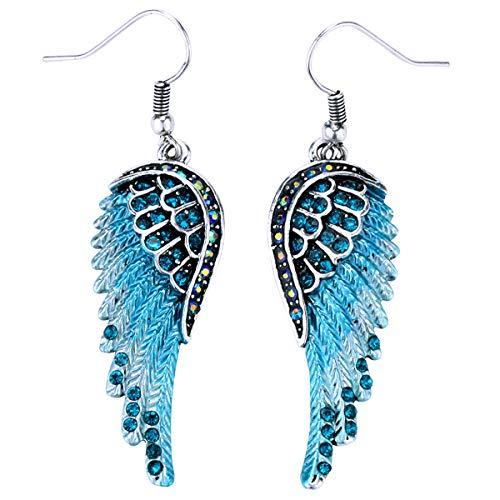 Angel Gold Earrings (Szxc Jewelry Women's Crystal Angel Wings Dangle Earrings Biker Jewelry)