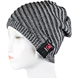 Caseco Blu-Toque Bluetooth Beanie Knit Skully Beanie Cap Hat with Wireless Bluetooth Headphone Headset Earphone Music Audio Hands-free Phone Call for Winter Sports Fitness Gym Exercise Workout