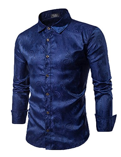 (Modfine Men's Long Sleeve Printed Silk Dress Shirt Dance Prom Party Button Down Fashion Shirts(Navy Blue,XXL))