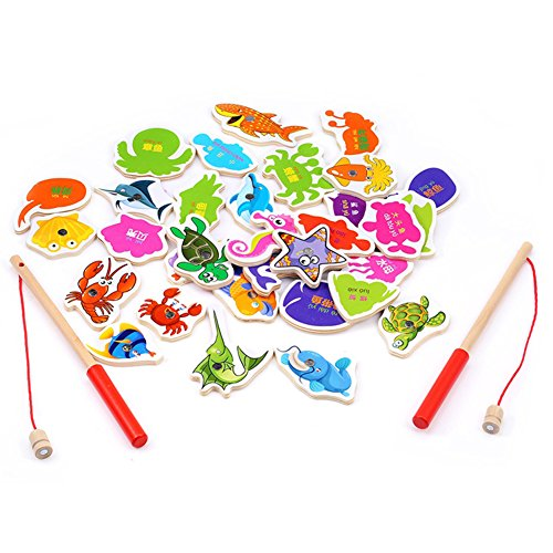 Multi Outools Fishing Game Magnetic Fishing Toys for 0-6 Years Old Toddlers and Children Early Childhood Education-32pcs Wooden Marine Animal Cognition with 2 Rods