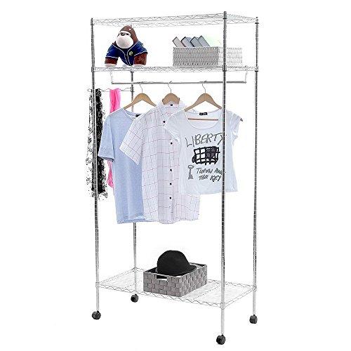Leoneva Premium Deluxe Adjustable Heavy Duty 3-Tier Clothing Garment Rack Hanger Wire Shelving Wardrobe Shelf with 4 Rolling Wheels, Side Hooks (Drying Rack with Side Hooks)