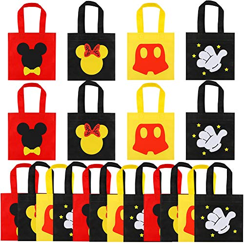 Mickey First Birthday Decorations (20 Pcs Mickey Mouse Favor Bags, Mickey Treat Candy Goodie Gift Non-woven Bags Reusable for Baby Birthday Party Supplies Baby Shower Mickey Mouse Theme Party)