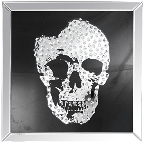 (Acme Furniture Nevina Wall Décor, Mirrored & Crystal Skull, Mirrored and Crystal)