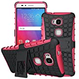 Huawei Honor 5X Case, GreenElec [Heavy Duty] Dual Layers Hybird Case [kickstand Features] Full Body Protective Case With [Fit Prefect] [Shockproof] [Scratch-proof] for Huawei Honor 5X (Rose)