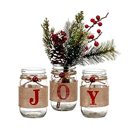 Amazon Com V More Christmas Holiday Mason Jar Flower Vase Glass