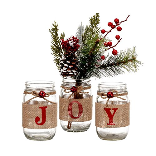 V-More® Christmas Holiday Mason Jar Flower Vase Glass Candle Holder Rustic Style with Burlap Rap Jute Bowknot and Small Red Bell 5-inch Tall for Home Decor Wedding Party and Celebration (Set of 1)