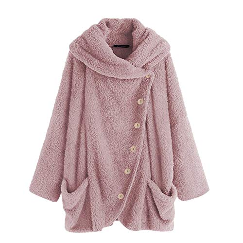 Kumike Fashion Women Button Coat Fleece Fluffy Tail Tops Hooded Pullover Loose Sweater Blouse (M, PinkF) (Jacket Front Button Fur)