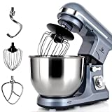 MURENKING Professional Stand Mixer MK37A 500W 5-Qt Bowl 6-Speed Tilt-Head Food Electric Kitchen Machine,Plastic,Silver Blue