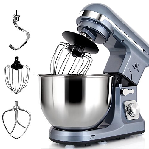 Stand Mixer MURENKING MK37A 500W 5-Qt Bowl 6-Speed Tilt-Head Food Electric Kitchen Machine,Plastic,Silver Blue