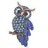 MJARTORIA Vintage Halloween Bridal Scarf Jewelry Royal Blue Rhinestone Night Owl Brooch Pin