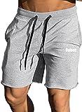 Ouber Men's Gym Workout Shorts Bodybuilding Running Training Jogging Pants (Grey,L)