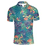 HUGS IDEA Men's Peerformance Jersey Polos Shirt Hawaiian Short Sleeve Leaves Pattern T-Shirts Breathable Athletic Sport Tee