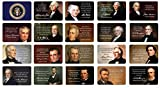 US Presidents Quote Cards; Inspirational Quotes and Full-Color Images, Thick Stock Paper