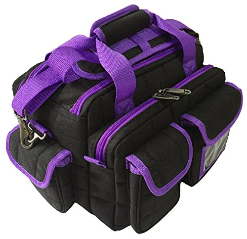 Explorer Tactical Padded Deluxe Shooting Ammo Range Rangemaster Gear Bag (Black/Purple)