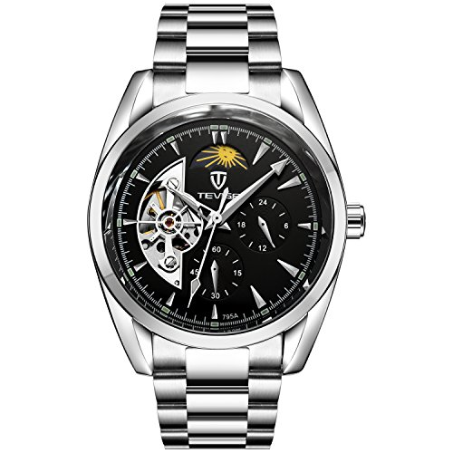 TEVISE Men's Fashion Casual Stainless Steel Automatic Wrist Watch Black Dial Silver Band
