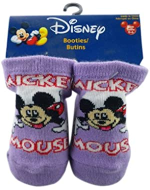 Purple Mickey Mouse Script Booty Socks (Size 0-6 Months) - Mickey Mouse Socks