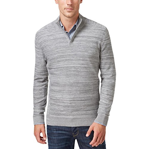 Alfani Mens Long Sleeves Regular Fit 1/2 Zip Sweater Gray S from Alfani