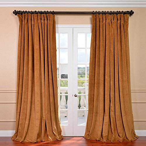 Half Price Drapes VPCH-VET1211-120 Signature Doublewide Blackout Velvet Curtain, Amber Gold, 100 X - Gold Amber