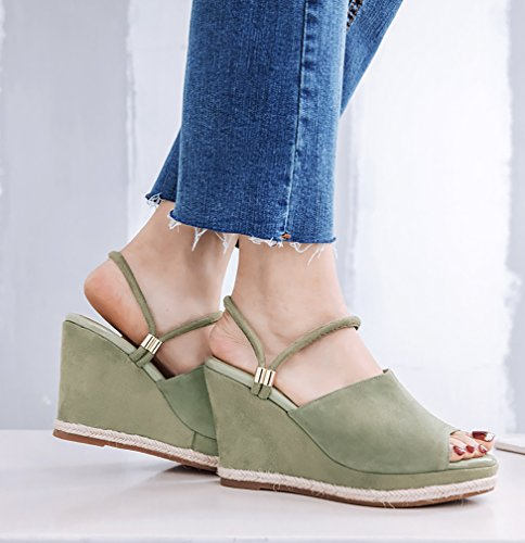 Calaier Women Salbb Open-Toe 9CM Wedge Heel Slip-on Sandals Shoes Green l5SpcyLhw