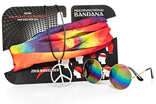 Zilo Novelties Hippie Costume Set. Kit Includes Sunglasses, Peace Sign Necklace & Headband To Make You The Hit Of The Party (Cool Stay Bandanna)