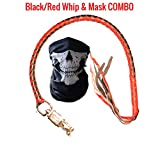 Get Back Whip Motorcycle - Premium Dealer Quality Real Cowhide Leather Biker 36'' Handlebar Whips & Half Skull Face Tubular Mask [Combo Pack] - Heavy Duty Quick Release Lever Attachment (Black/Red)
