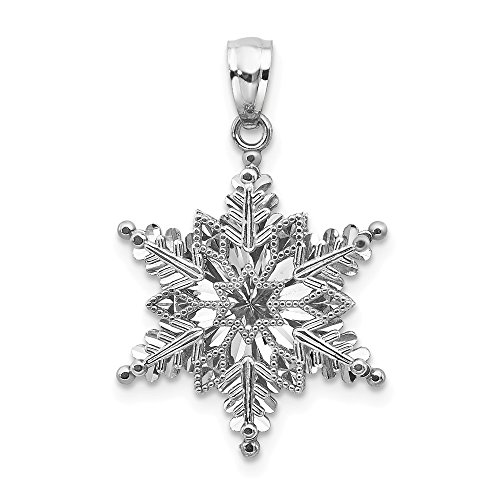 14k White Gold Textured 2 Level Snowflake Pendant Charm Necklace Holiday Winter Fine Jewelry Gifts For Women For Her (Charm White Gold Snowflake 14k)