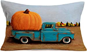 Aremetop Throw Pillow Covers Fall Pumpkin with Blue Truck Farm Decor Pillowcases Cotton Linen Farmhouse Autumn Harvest Throw Pillow Case Decorative Cushion Cover 12''x20'',Halloween Thanksgiving Gift