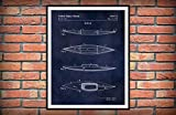MalertaART Kayak Patent Print 1975 Kayak Poster Kayak Blueprint Nautical Decor Kayak Invention
