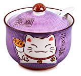 Ceramics Japanese Maneki Neko Lucky Cat Sugar Salt Pepper Storage Jar with Lid And Spoon