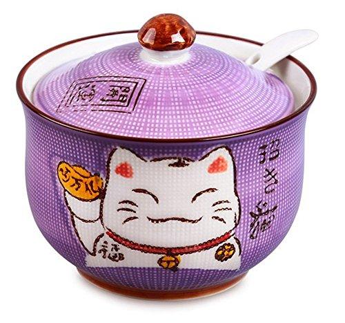 Ceramics Japanese Maneki Neko Lucky Cat Sugar Salt Pepper Storage Jar with Lid And Spoon by MISS TUTU