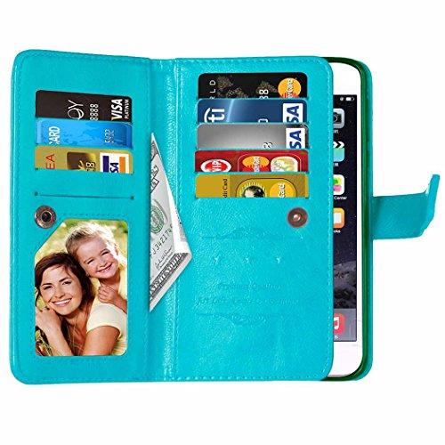 Voguecase® Pour Apple iPhone 7 4,7 Coque, Étui en cuir synthétique chic avec fonction support pratique pour iPhone 7 4,7 (9 emplacements-Bleu)de Gratuit stylet l'écran aléatoire universelle