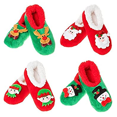 605a215ed6a Snoozies Christmas Cameos Non Slip Warm Cosy Slippers Gift Green Red Shoe  UK Size Large 6-7 Medium 5-6 Small 3-4  Amazon.co.uk  Shoes   Bags