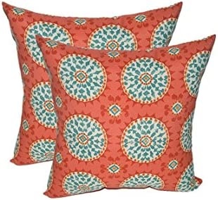 Resort Spa Home Decor Set of 2 – Indoor Outdoor Square Decorative Throw Toss Pillows – Red, Coral, Turquoise Sundial 20
