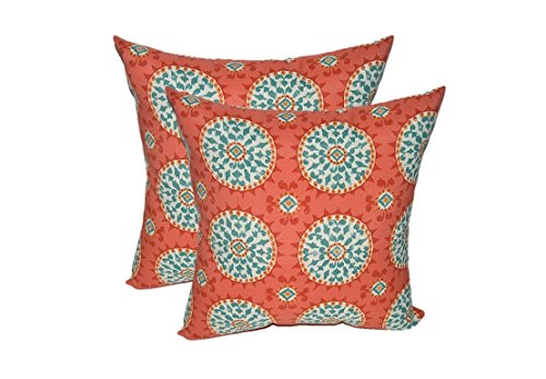 Set of 2 – Indoor Outdoor Square Decorative Throw Toss Pillows – Red, Coral, Turquoise Sundial 17