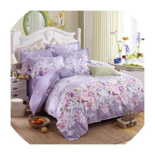 Jifnhtrs Classic Bedding Set 5 Size Grey Blue Flower Bed Linen 4pcs/Set Duvet Cover Set Pastoral Bed Sheet AB Side Duvet Cover Bed,Flower Voilet,Full ()